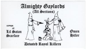 ALMIGHTY GAYLORDS The Almighty Gaylords are one of the oldest street gangs in Chicago. This card is a particularly heavy version depicting two klansmen preparing to execute a Simon City Royal rabbit – another white gang.