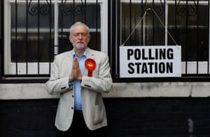 Labour leader Jeremy Corbyn gestures after voting in local government elections in London on 3 May 2018