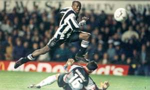 Tino Asprilla scores during Newcastle's 2-0 Uefa Cup win over Metz in December 1996.