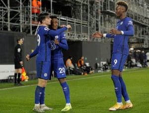 Mason Mount of Chelsea celebrates his goal with team mates Callum Hudson-Odoi (no 20) and Tammy Abraham.