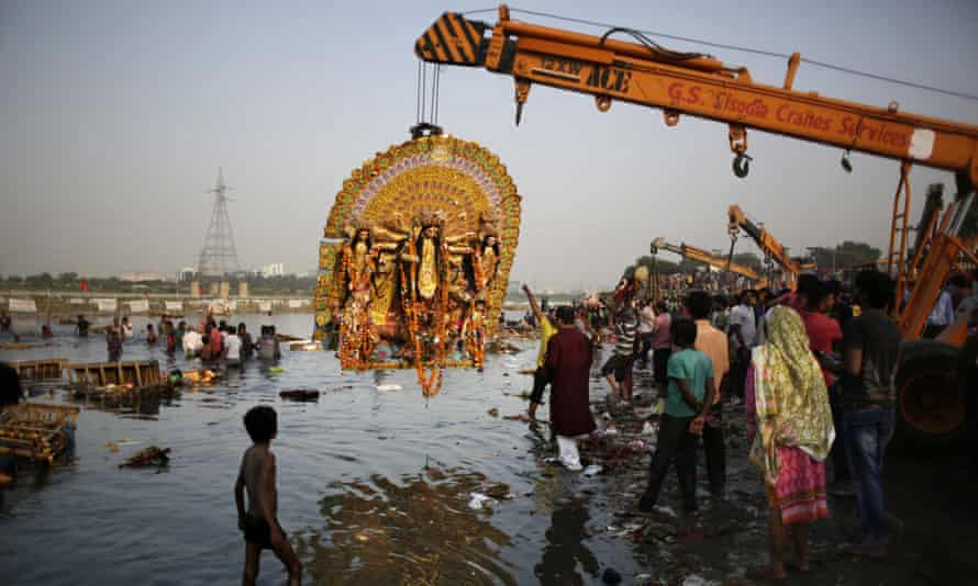 Durga Puja festival on the Yamuna river
