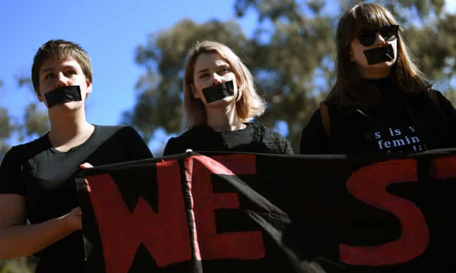 Australian National University students protest after the release of a survey revealing the levels of sexual assaults and sexual harassment.