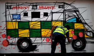 Street art depicting ambulance