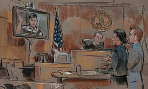 James Alex Fields Jr is seen via video link from jail in a courtroom sketch.