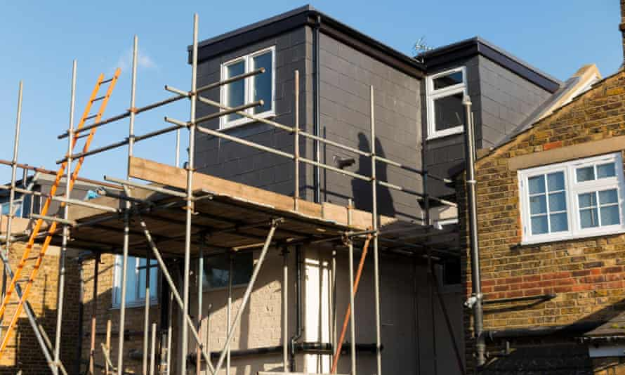 Scaffolding to a newly completed dormer on a Victorian terraced house