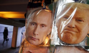 Face masks of Vladimir Putin and Donald Trump on sale in St Petersburg, Russia, December 2016.