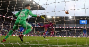 Manchester City's Raheem Sterling scores their second goal as City win 2-0 at Cardiff City.