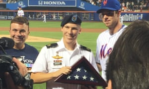 Joshua Gravett, a gay man who served in the army, was honored at a Mets baseball game after 'don't ask, don't tell' was repealed.