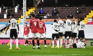 Bruno Fernandes of Manchester United prepares to take a free kick.
