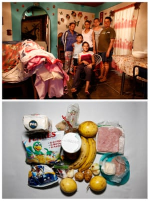 """Victoria Mata (2nd R) posing for picture next to her relatives (L-R) Naibeth Pereira, Sebastian, Delis Pereira, Denis Pereira (R) and Wenderly (Front) (top) and the food they have in their home in Caracas, Venezuela April 21, 2016. """"We are eating less because you can't find the foods and when they appear, the queues are hellish and we can not buy. Now we do not eat three meals, we are eating two meals at the day, If we have them"""" Mata said."""