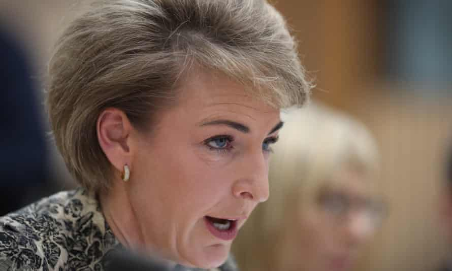 "Employment Minister Michaelia Cash in Senate estimates. She was unable to answer questions about the identity of the ""media source"" of the AWU raids leak."