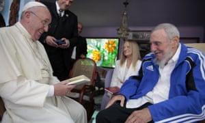 Pope Francis meets Cuba's Fidel Castro, as Castro's wife Dalia Soto del Valle looks on, in Havana in 2015.
