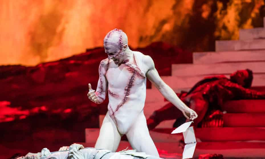 Lurching, limp creepiness … Steven McRae as the Creature in Frankenstein at the Royal Opera House, London.