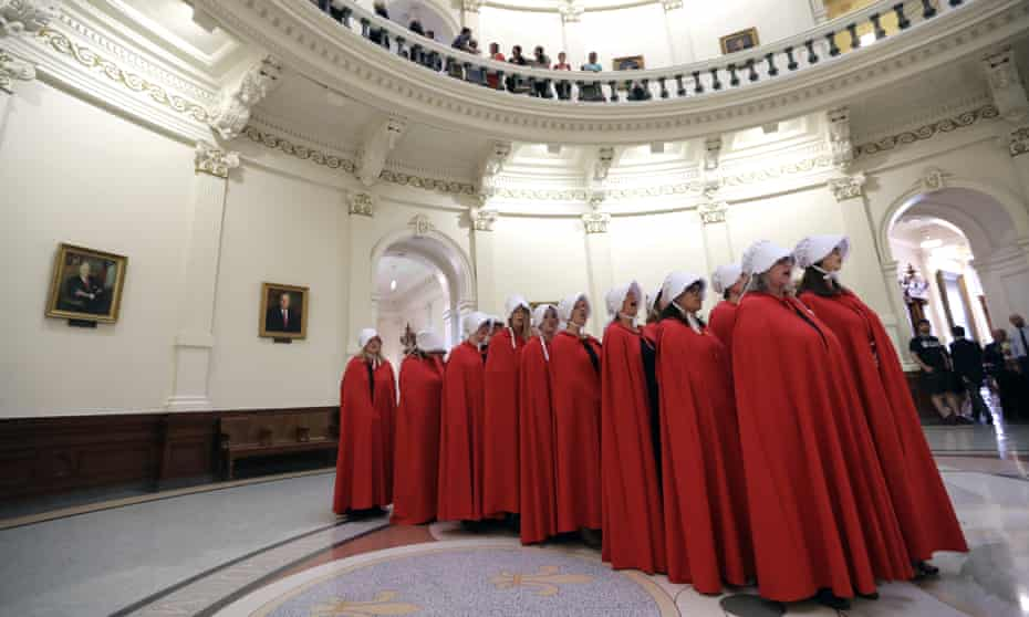 Activists dressed as characters from The Handmaid's Tale in the Texas Capitol Rotunda in May 2017.
