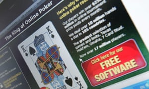 Computer screen displays online gambling website.