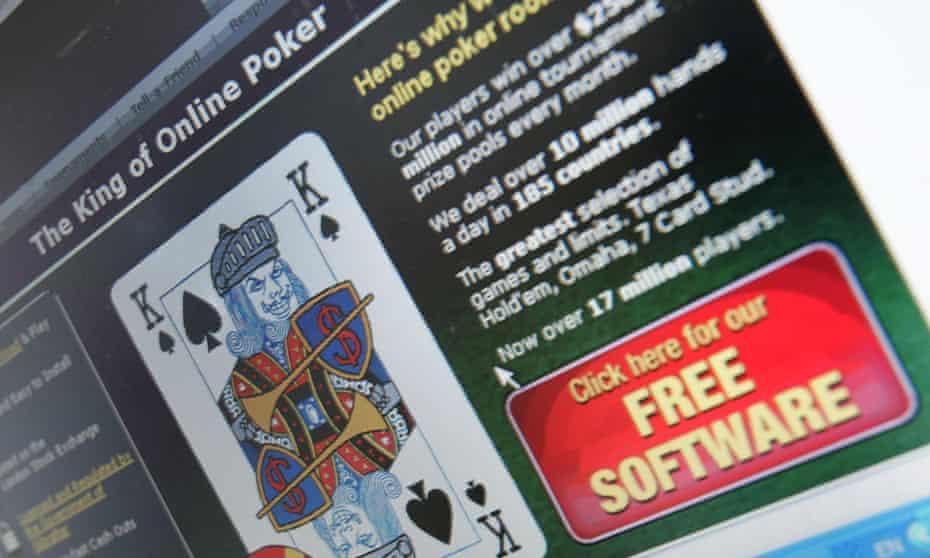Computer screen displays online gambling website.