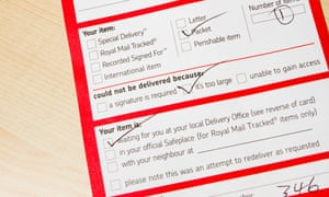 Royal Mail, while you were out missed delivery card/note
