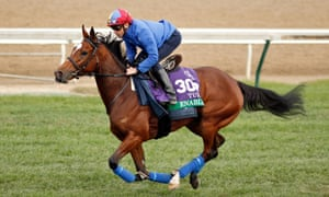 Frankie Dettori and Enable in a racecourse gallop at Churchill Downs this week.