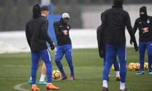N'Golo Kante is pictured in Chelsea training. The midfielder reportedly passed out after a training session on Friday.