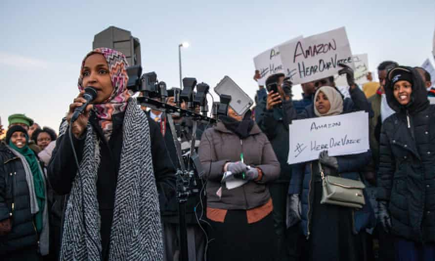 Representative-elect Ilhan Omar speaks during a rally at the Amazon fulfillment center in Shakopee, Minnesota.