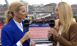 Paula Radcliffe, right, talks to Gabby Logan during the BBC coverage of the Great CityGames in Newcastle.