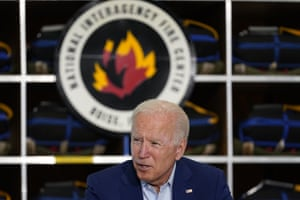 President Joe Biden speaks during a visit to the National Interagency Fire Center, in Boise, Idaho, on Monday.
