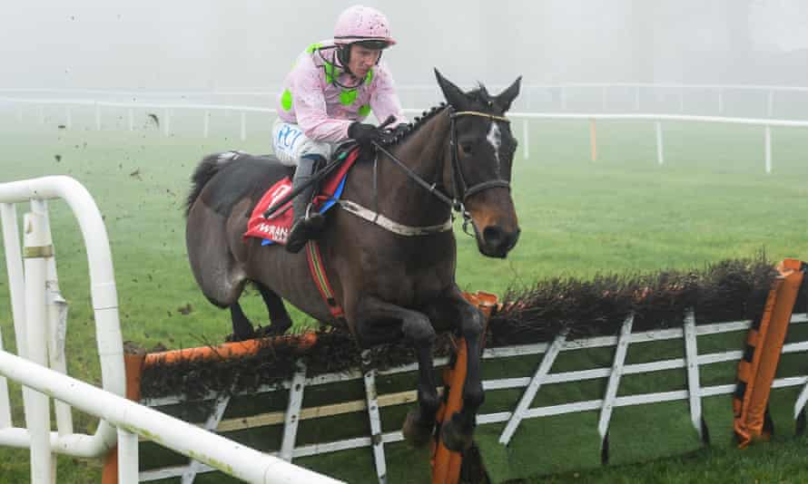 Benie Des Dieux jumps the last on her way to winning the Galmoy Hurdle at Gowran Park.