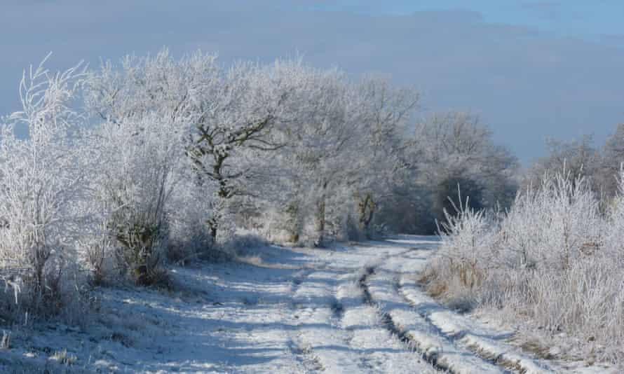 Mare Way, Cambridgeshire, in the snow