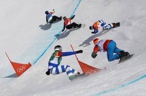 Australia's Alex Pullin leads the pack during the men's snowboard cross quarter-final.