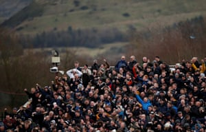 The Derby County fans celebrate.