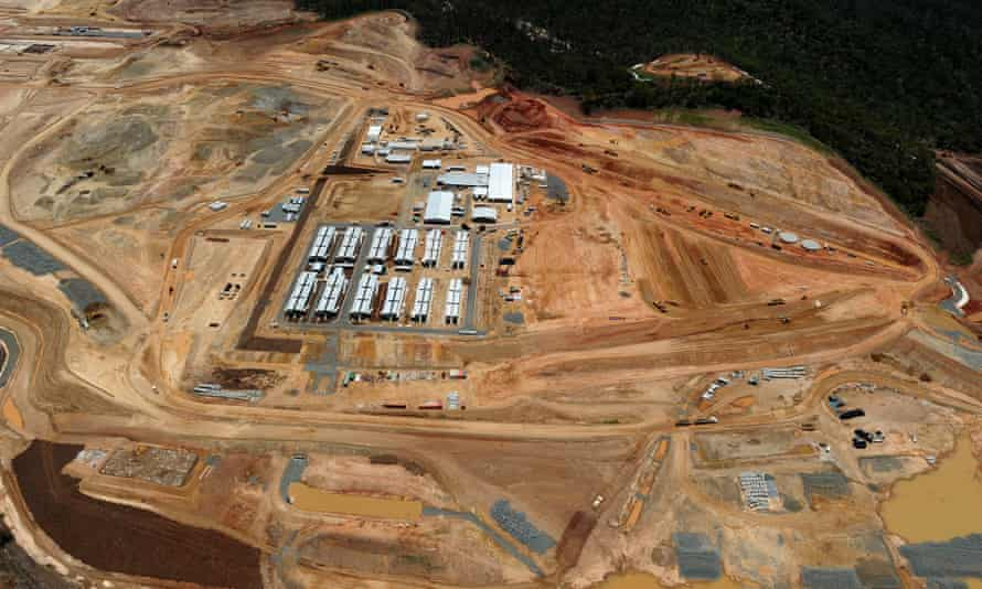 Earthworks and worker housing at the project site of the Gladstone LNG facility on Curtis Island in 2012.
