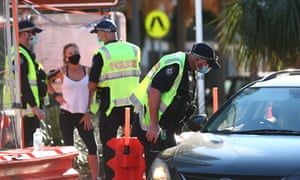 Queensland Police stop cars in Coolangatta