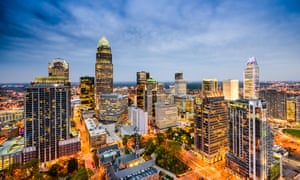 Migration to Charlotte increased after Bank of America built its corporate HQ (pictured center left) here in 1992.