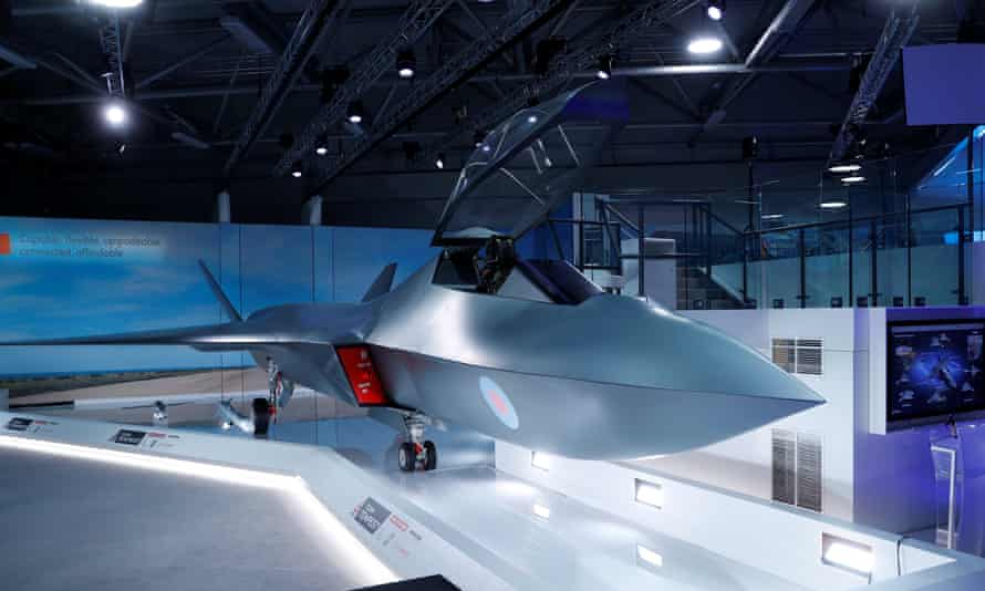 A model of the Tempest jet fighter, unveiled by the defence secretary, Gavin Wiliamson, at the Farnborough airshow