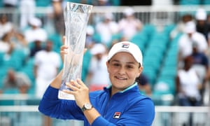 Ashleigh Barty of Australia celebrates with the trophy.
