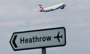 A British Airways plane taking off from Heathrow airport