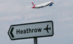 A British Airways plane takes off.