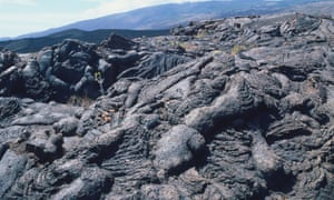 Dried lava from a recent volcanic eruption.