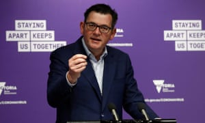 Victorian premier Daniel Andrews speaks to the media in Melbourne on Sunday after reporting 279 new coronavirus cases and 16 deaths.