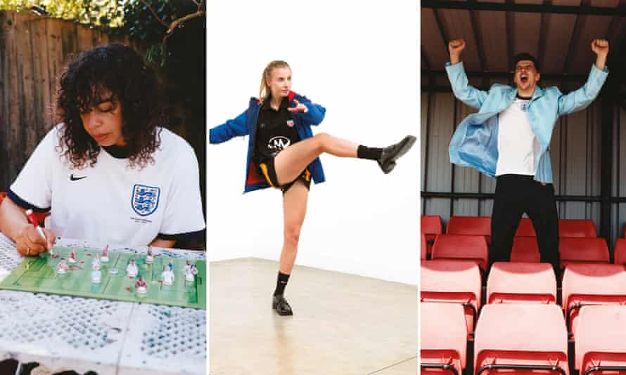 Left: Martine Rose wearing her supporter's shirt. Centre: Leah Williamson. Right: Mason Mount.