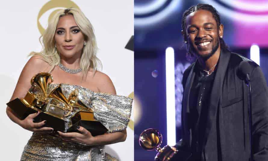 Lady Gaga and Kendrick Lamar with their Grammy awards