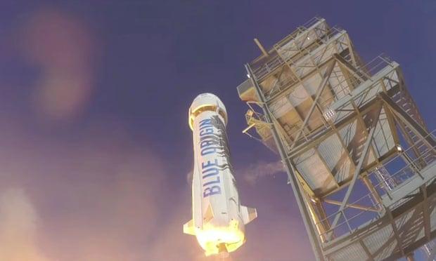 Blue Origin's New Shepard rocket launch in Texas.