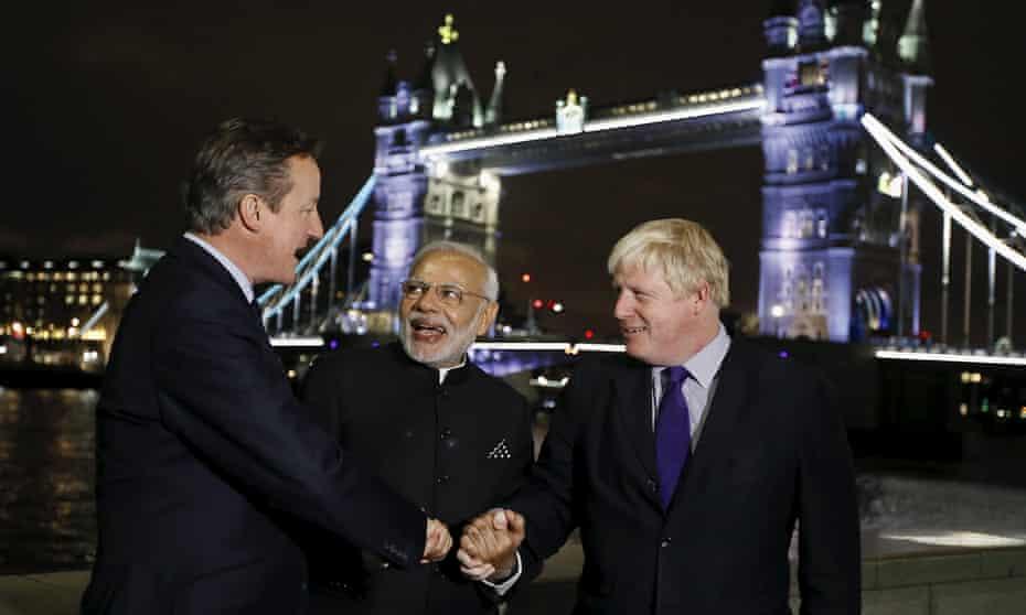 David Cameron, Narendra Modi and Boris Johnson pictured in front of Tower Bridge in November 2015.
