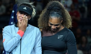 Serena Williams embraces Naomi Osaka after the US Open tennis final, imploring the crowd to let Osaka enjoy her victory.