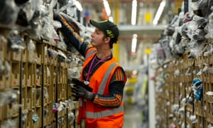 A worker at the Amazon fulfilment centre in Swansea.