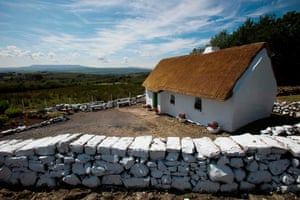 Margaret Gallagher's three-room thatched cottage near the village of Belcoo in Enniskillen, Northern Ireland, on the border with the Republic of Ireland