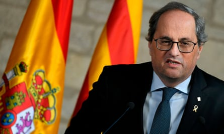 Quim Torra at a press conference in February.