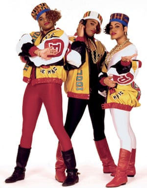 "Salt-N-Pepa strike a pose in New York City, 1987. Says photographer Janette Beckman: ""I met Salt-N-Pepa long before they made their first record. They were like sisters; funny, cool girls from Queens wearing big gold earrings and chains with fake Louis Vuitton bags. I did a small shoot with them for a British magazine and they later introduced me to their manager, Hurby 'Luv Bug' Azor, who asked me to shoot the album cover."""