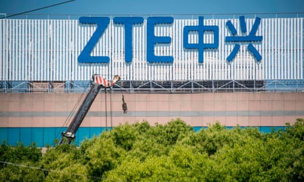 The ZTE logo on an office building in Shanghai, China.