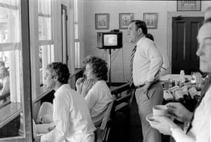 England captain Mike Brearley and next-man-in Bob Willis watch the action from inside the England dressing room during a tense moment in the fourth Test match between Australia and England at the SCG, in January 1979. Standing behind them watching the action is England team manager Doug Insole.